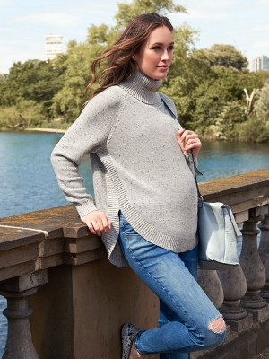 Seraphine Alma Textured Knit Cape Maternity Sweater-16004