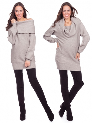 Seraphine FGold-Over Knitted Maternity Tunic