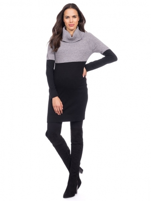 Knitted Maternity Nursing Tunic in Black & Grey