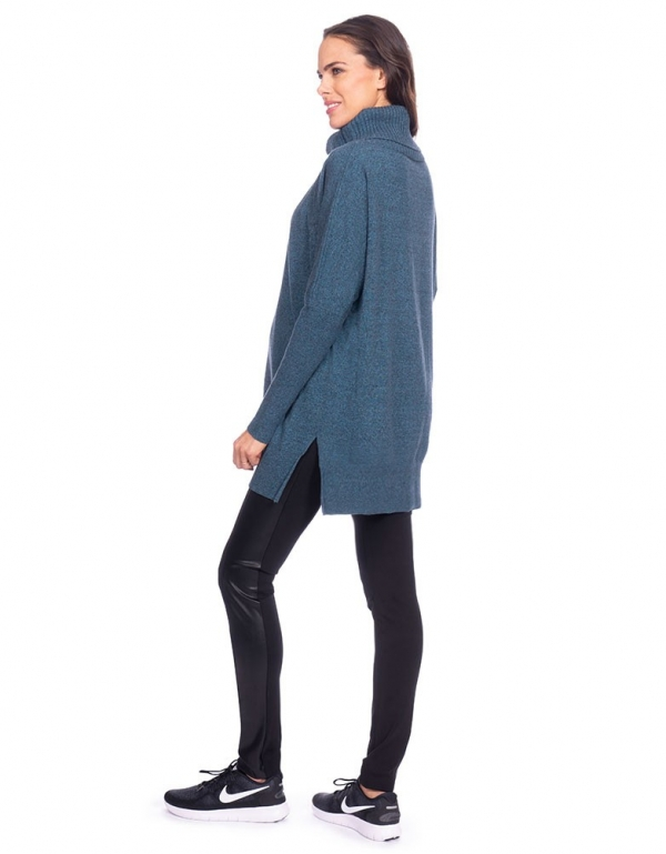 Seraphine Haven Roll Neck Knitted Nursing Tunic in Teal-15984