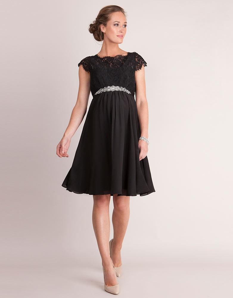 f6d56710d51 Luxe Lydia Black Silk & Eyelash Lace Maternity Dress - hautemama