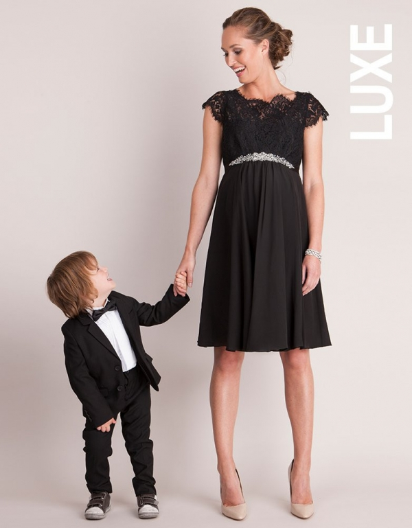 Seraphine Luxe Lydia Black Silk & Eyelash Lace Maternity Dress-16032