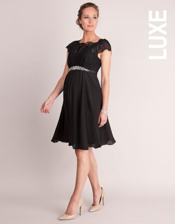 Seraphine Luxe Lydia Black Silk & Eyelash Lace Maternity Dress-16034