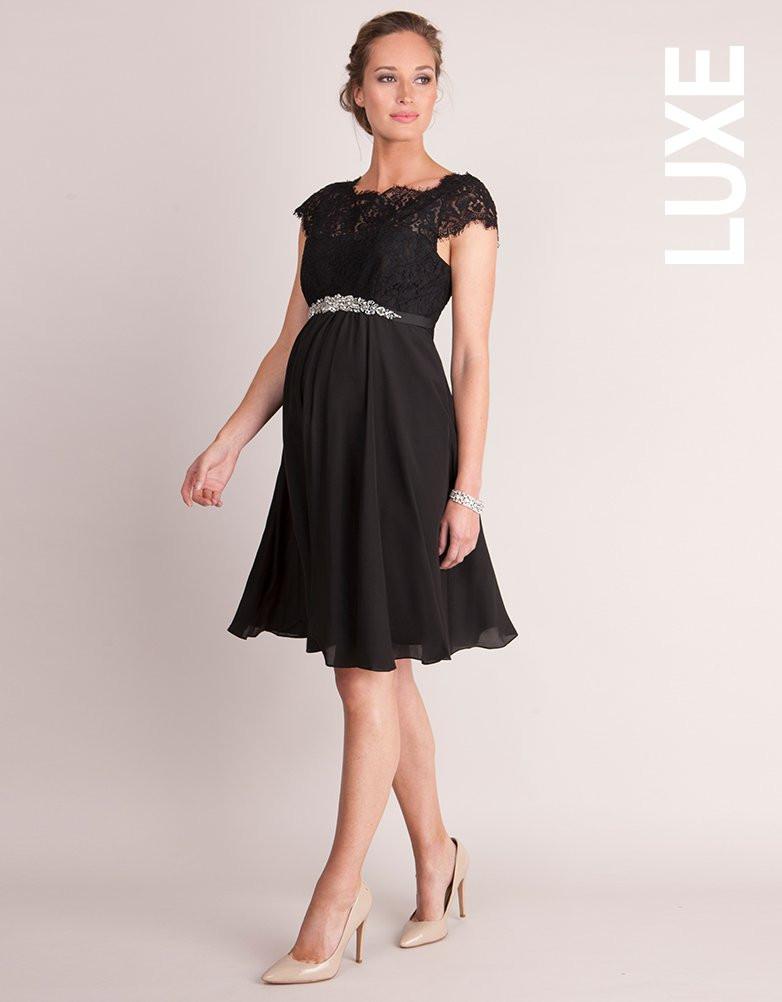 3c6963cfb18 Seraphine Luxe Lydia Black Silk & Eyelash Lace Maternity Dress-16034