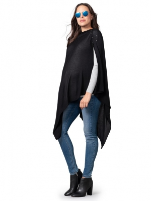 Seraphine Black Bamboo Nursing Cover Maternity Shawl-16010