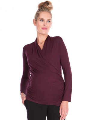 Seraphine Melanie Cross Over Maternity & Nursing Top in Burgundy-0