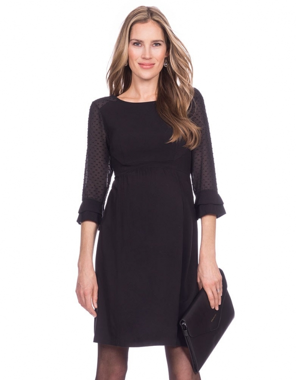 Nicolette Sheer Dot Black Maternity Dress