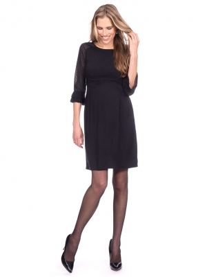 Seraphine Nicolette Sheer Dot Black Maternity Dress-16025