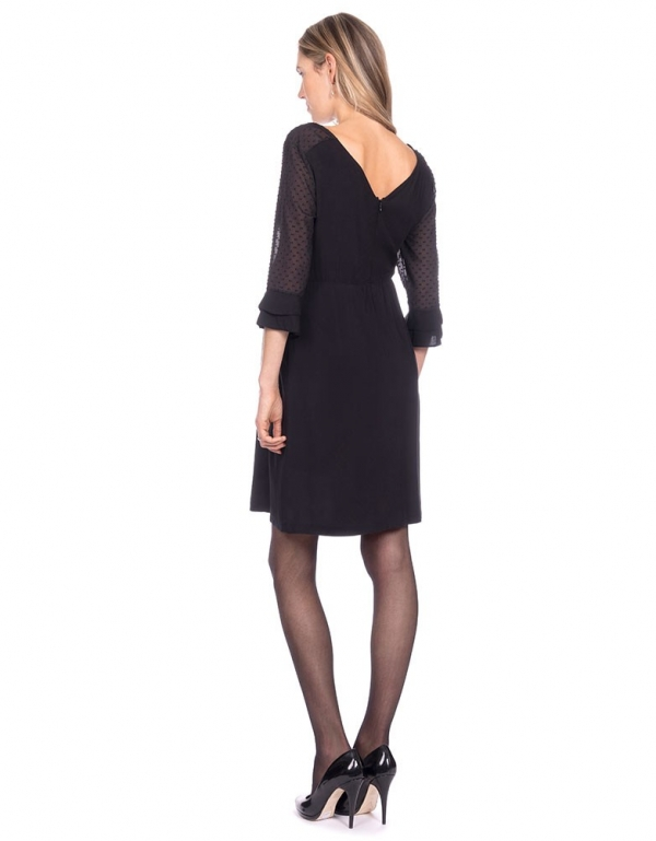 Seraphine Nicolette Sheer Dot Black Maternity Dress-16027