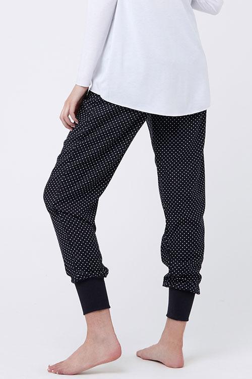 Ripe Tori Sleep Pants in Black & White Polka Dots-16127