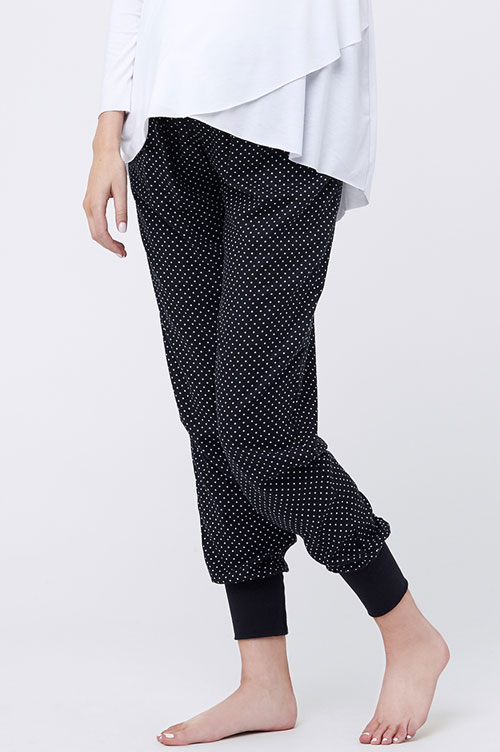 Ripe Tori Sleep Pants in Black & White Polka Dots-16126