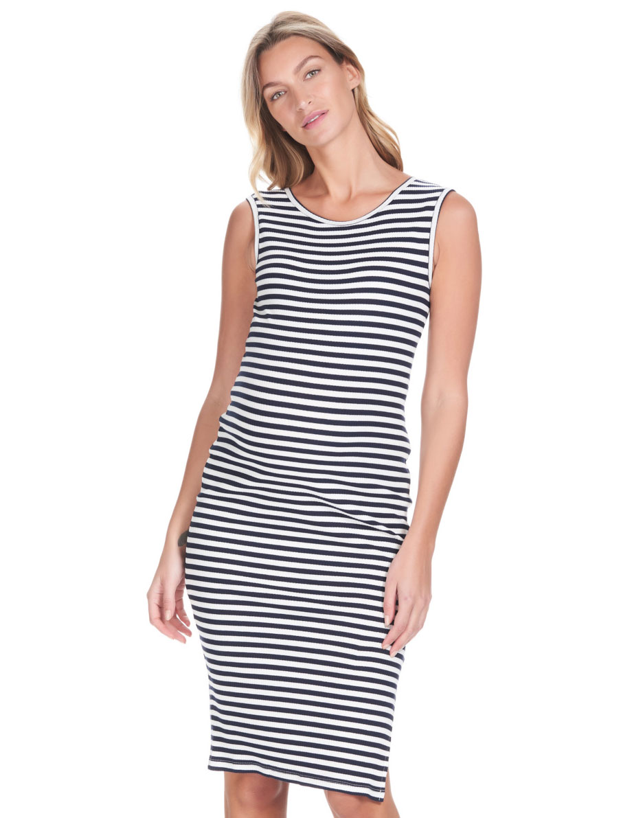 3fa6824d96739 Abby Tank Maternity Dress · Abby Tank Maternity Dress Navy Stripes