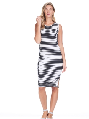 Abby Tank Maternity Dress Navy Stripes