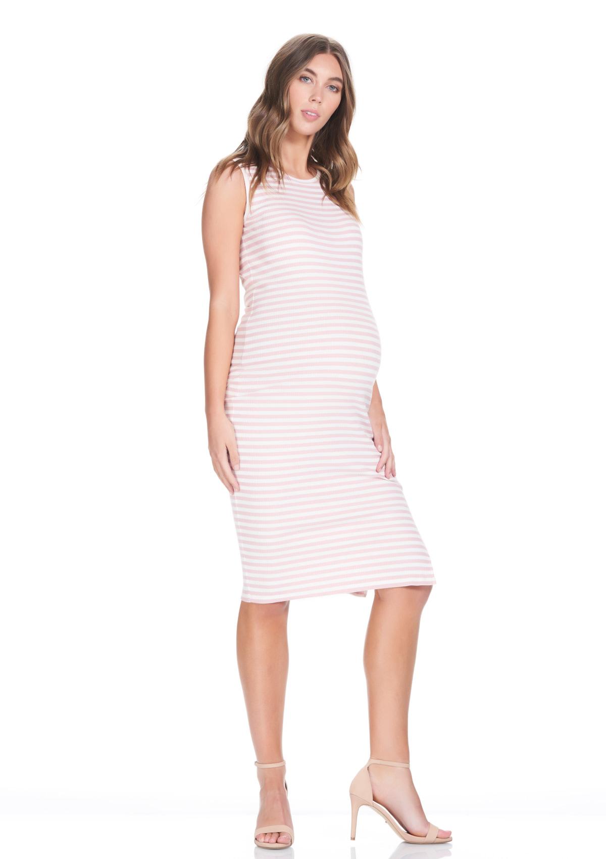 Abby Tank Maternity Dress In Pink Stripe Rib X Small Only Hautemama
