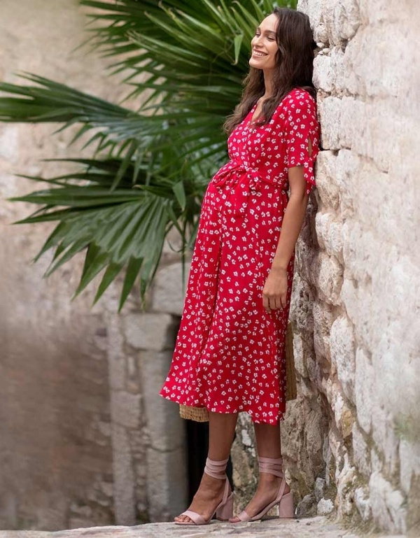 Bessie Red Floral Maternity Dress